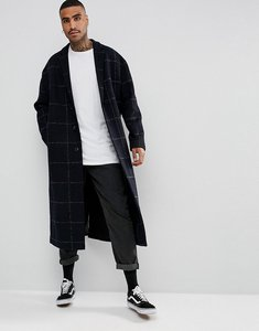 Read more about Asos wool mix long lined overcoat in navy check - navy