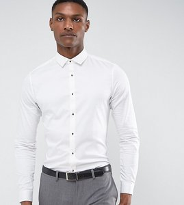 Read more about Asos tall slim fit sateen shirt with ruby stud - white