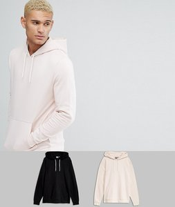 Read more about Asos hoodie 2 pack pink black save - punch black