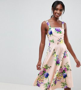 Read more about Asos design tall midi floral prom dress with square neck - multi