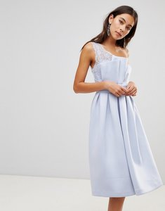 Read more about Asos premium one shoulder lace scuba midi prom dress - blue