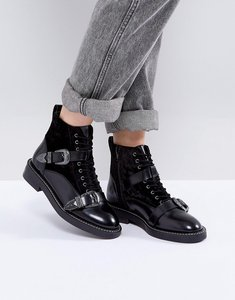 Read more about Office asteroid leather buckle boots - black