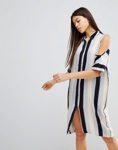 Read more about Noisy may cold shoulder stripe dress - multi