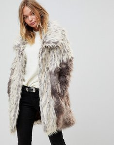 Read more about Urbancode faux fur coat with oversize collar - multi