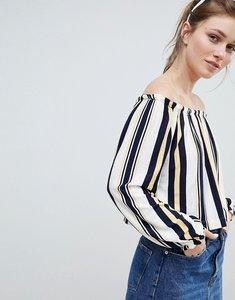 Read more about Bershka bardot top in multi stripe print - blue