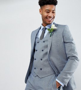 Read more about Asos design tall wedding skinny suit jacket in airforce blue micro texture - blue