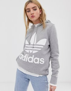 Read more about Adidas originals adicolor trefoil hoodie in grey - grey