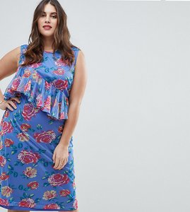 Read more about Asos curve mesh midi column dress in floral print - multi