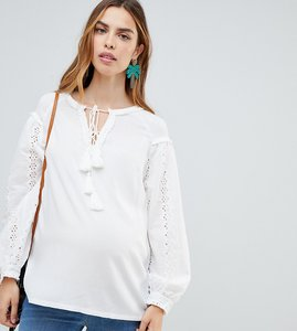 Read more about Glamorous bloom maternity broderie tunic top with tie detail - white