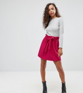 Read more about Asos petite textured mini skater skirt with paperbag waist and belt - sangria