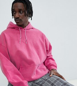 Read more about Reclaimed vintage inspired oversized overdye hoodie in pink - pink