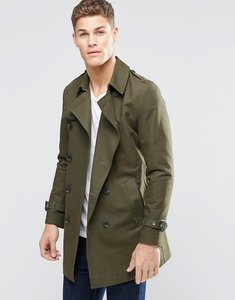 Read more about Asos double breasted trench coat with shower resistance in khaki - khaki