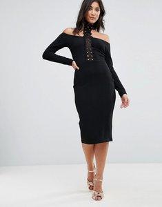 Read more about Ax paris crochet detail choker neck midi dress - black