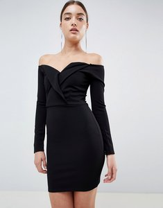 Read more about Missguided bardot tux mini dress - black