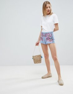 Read more about Glamorous embroidered shorts - sky blue