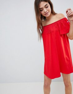Read more about Asos off shoulder sundress with fringing detail - red