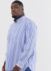 Read more about Polo ralph lauren big tall stripe button down one pocket shirt stretch poplin in blue pastel multi