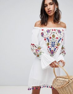 Read more about Raga wild flower embroidered off shoulder dress - multi