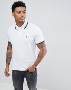 Read more about Original penguin pique tipped polo slim fit small logo slim fit in white - bright white