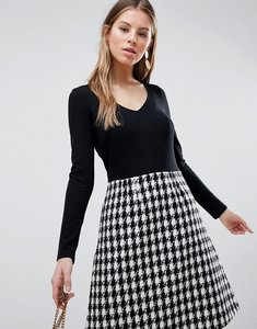 Read more about Traffic people long sleeve 2-in-1 skater dress with checked skirt - black white