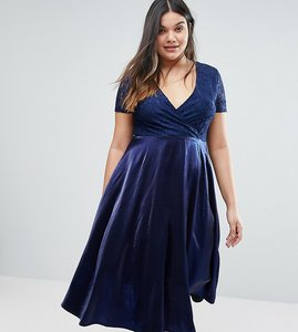 Read more about Truly you lace bardot full skirt midi dress - navy