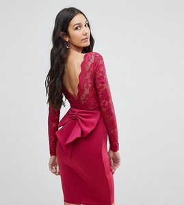 Read more about City goddess tall long sleeve lace mini dress with bow back - raspberry