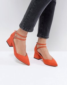 Read more about Asos sincere pointed block mid heels - red