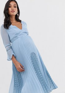 Read more about Asos design maternity plunge neck lace insert pleated midi dress