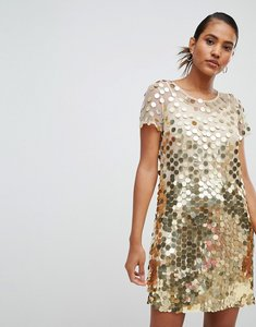 Read more about French connection disc sequin mini dress - gold