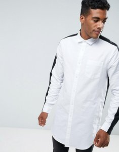 Read more about Asos regular fit super longline oxford shirt in monochrome - white
