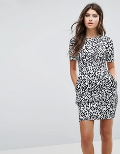 Read more about Asos mini wiggle dress in leopard print - black