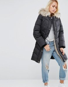 Read more about Asos puffer parka with faux fur liner and leopard hood - black