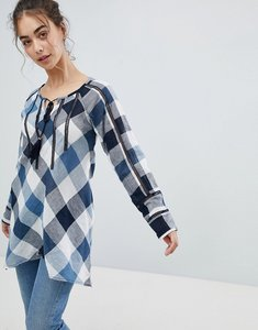 Read more about Qed london gingham top - navy