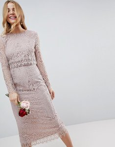 Read more about Asos design lace long sleeve midi pencil dress - mink