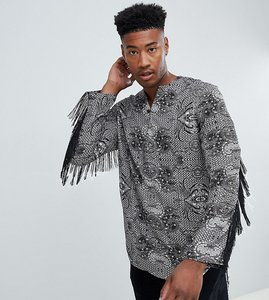 Read more about Asos design tall regular fit overhead paisley printed shirt with fringing - black