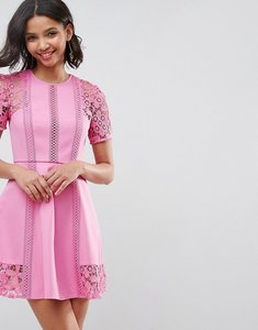 Read more about Asos premium lace insert mini dress - pink