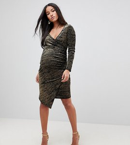 Read more about Flounce london maternity wrap front midi dress with assymmetric hem in metallic velvet