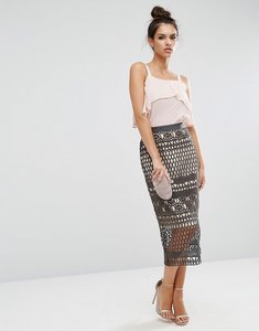 Read more about Asos pencil skirt in premium lace - dark grey