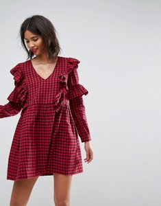 Read more about Asos ultimate gingham smock dress with ruffles - multi
