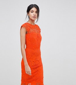 Read more about Paper dolls tall lace dress with scalloped back - tang orange
