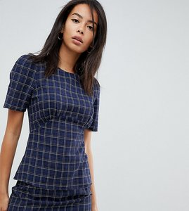 Read more about Fashion union tall short sleeve top in check - blue check