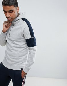 Read more about Only sons half-zip hoodie with arm stripe - light grey melange