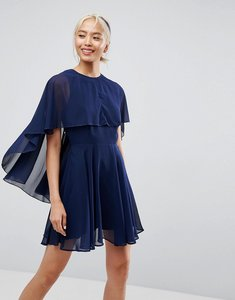 Read more about Asos soft chiffon dip back mini dress - navy