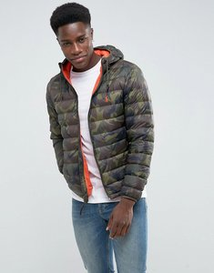 Read more about Polo ralph lauren lightweight down puffer jacket hooded packable in green camo - vintage olive camo