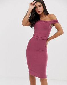 Read more about The girlcode bandage bodycon dress with frill off shoulder in plum