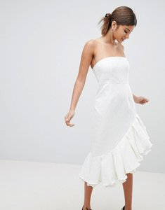 Read more about Prettylittlething premium bandeau frill midi dress - white