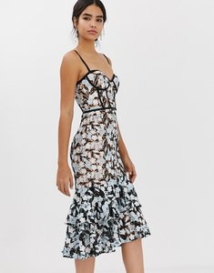 Read more about Jarlo all over contrast floral lace embroidered midi dress with ruffle hem detail in multi