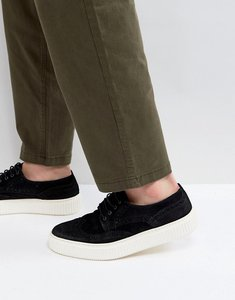 Read more about Asos casual shoes in black suede with brogue detail - black