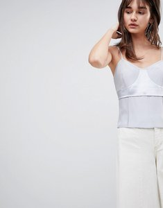 Read more about Asos white silk cami top with raw edge detail - grey