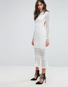 Read more about Prettylittlething lace high neck midi dress - white